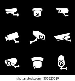 Vector white security camera icon set.