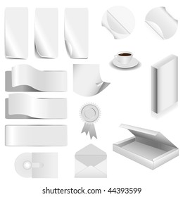 vector white set collection paper - 15 pieces