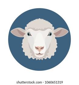 Vector white sheep or ram icon farm animal