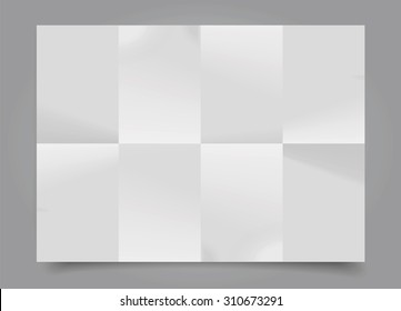 Vector white sheet of paper folded in eight.