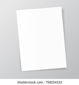 Vector White sheet of paper. Realistic empty paper note template of A4 format with soft shadows isolated on grey background