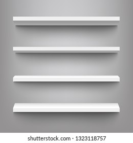 Vector white shelves for exhibition or market store product display. Blank home interior book stand, simple office furniture, retail store shelf with shadow mockup.