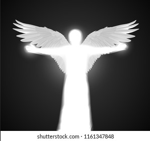 Vector white shining angel figure with wings and spread hands on dark background