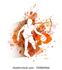 Vector white silhouette of basketball player on watercolor background