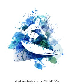Vector white silhouette Surfer on watercolor background