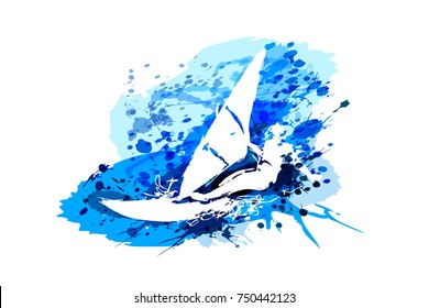 Vector white silhouette windsurfer on watercolor background