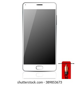 Vector white smart mobile phone. isolated on white background