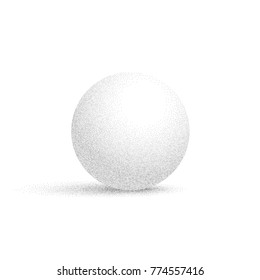 Vector white sphere with dotted shadows isolated on white background.