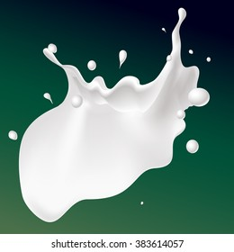 vector white splash milk illustration on dark green background