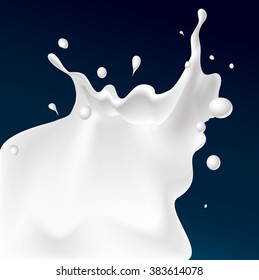 vector white splash milk illustration on dark blue background
