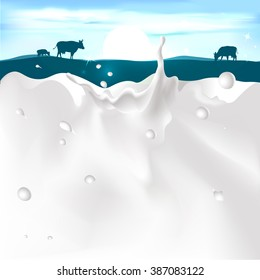 vector white splash milk illustration on dark blue background with cow and sunset