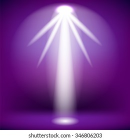 Vector White Spotlight Isolated on Purple Background.Stage Spotlight Background