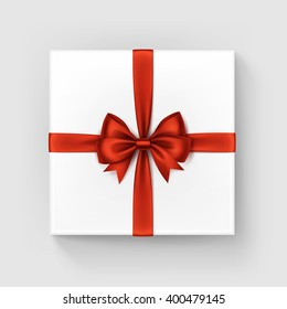 Vector White Square Gift Box with Shiny Red Satin Bow and Ribbon Top View Close up Isolated on White Background