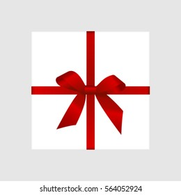 Vector White Square Gift Box with Satin Red Bow. Vector image.