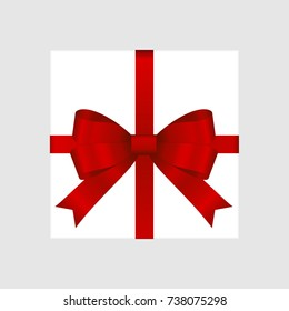 Vector White Square Gift Box with Shiny Red Satin Bow Isolated on Background