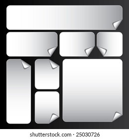 vector white stickers with rounded corners