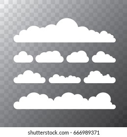 vector white summer clouds isolated isolated on transparent background. flat sky cloud icon collection
