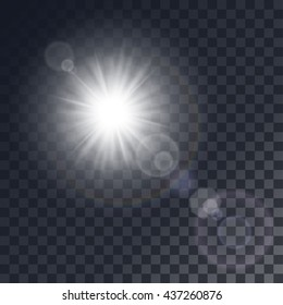 Vector white sun with light effects. Rays, hotspots on transparent like background.