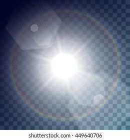 Vector white sun with light effects. Big rays, hotspots, rainbow halo and flares on transparent like background. Release clipping mask for work.