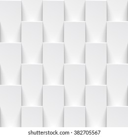 Vector white tile pattern panel background. Seamless geometric twisted design. 3D texture interior wall panel for graphic or website template layout.