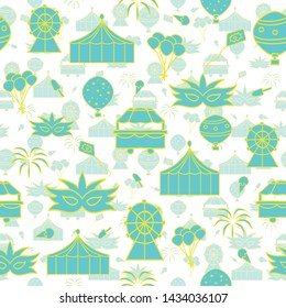 Vector white transparency carnival seamless pattern background