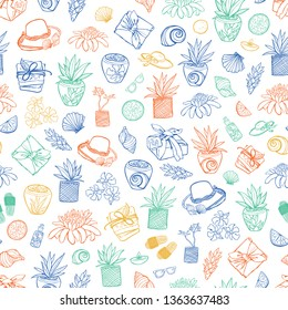 Vector white tropical beach resort spa repeat pattern. Suitable for gift wrap, textile and wallpaper. Surface pattern design.