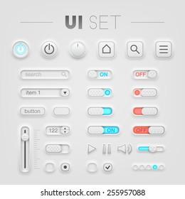 Vector white UI set. High quality design elements