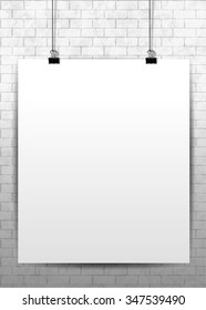Vector white vertical poster mock-up on the brick wall.