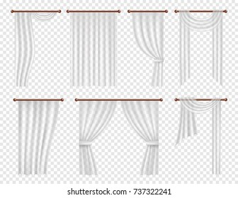 Vector white window curtains and drapes set. Realistic illustration on transparent background.