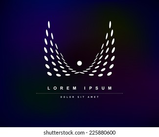 Vector White Wings from Circles of Blue Background. Abstract Creative Concept Logo Icon