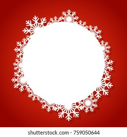 Vector white winter frame with snowflake.  Perfect  for winter holidays, New Year and Merry Christmas cards, prints, flayers, banners, invitations .