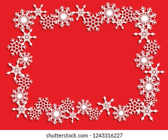 Vector white winter frame or wreath with snowflake. Perfect for New Year and Merry Christmas cards, prints, flayers, banners, invitations .Templates for laser, plotter cutting or wood carving.
