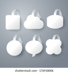 Vector white wobbler set  on gray background set 1.
