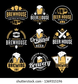 Vector white and yellow vintage beer logo isolated on black background for brew house, bar, pub, brewing company branding and identity.