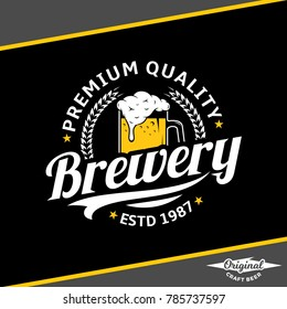 Vector white and yellow vintage brewery logo isolated on black background