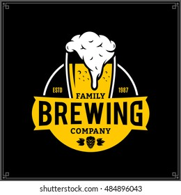 Vector white and yellow vintage brewing company logo isolated on black background