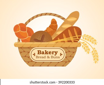 Vector wicker basket with bakery isolated on the light background