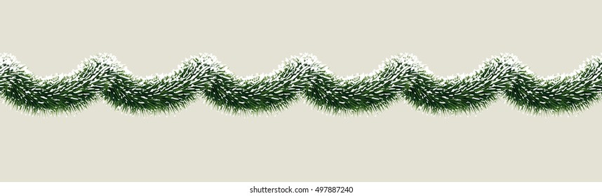 Vector wide fir tree christmas garland in snow. Seamless xmas border. Holiday background design for website header decoration, print design. Evergreen tree outdoor winter design element.