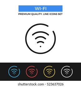 Vector Wi-Fi icon. Wifi sign, wireless network. Premium quality graphic design. Modern signs, outline symbols collection, simple thin line icons set for websites, web design, mobile app, infographics