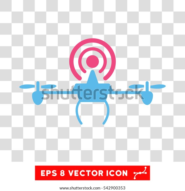 Vector Wifi Repeater Drone EPS vector icon. Illustration style is flat iconic bicolor pink and blue symbol on a transparent background.