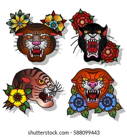 Old school tattoo images stock photos vectors shutterstock vector wild cats set traditional tattoo designs tiger panther maxwellsz
