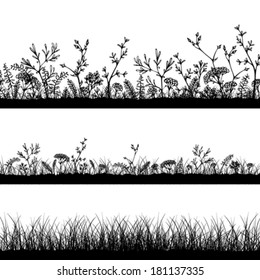Vector wild herbs and flowers silhouettes. Three horizontal grass templates. Black silhouettes on white background. Easy to modify.