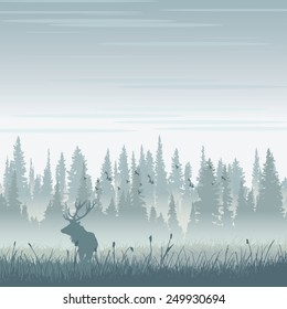Vector wild moose in mountains