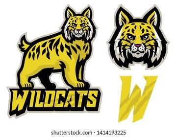 vector of wildcats sport mascot set