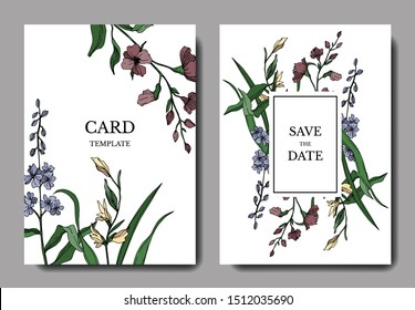 Vector Wildflower floral botanical flowers. Black and white engraved ink art. Wedding background card decorative border. Thank you, rsvp, invitation elegant card illustration graphic set banner.