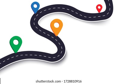 Vector winding road, map for journey. Street design infographics. Part of the road with geographical marks. Stock Photo.