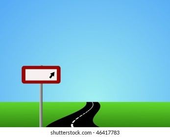 Vector of winding road and sky with blank road sign