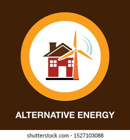 vector Windmill illustration, farm alternative energy power - ecology sign symbol isolated