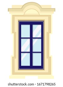 Vector window in cartoon style. Beautiful element of architecture.