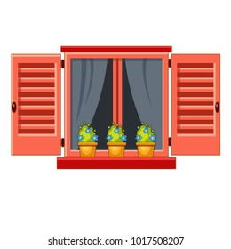 Vector window with pink shutters, transparent curtains and flower pots. Cartoon house element. Cute summer illustration. European street. Old town